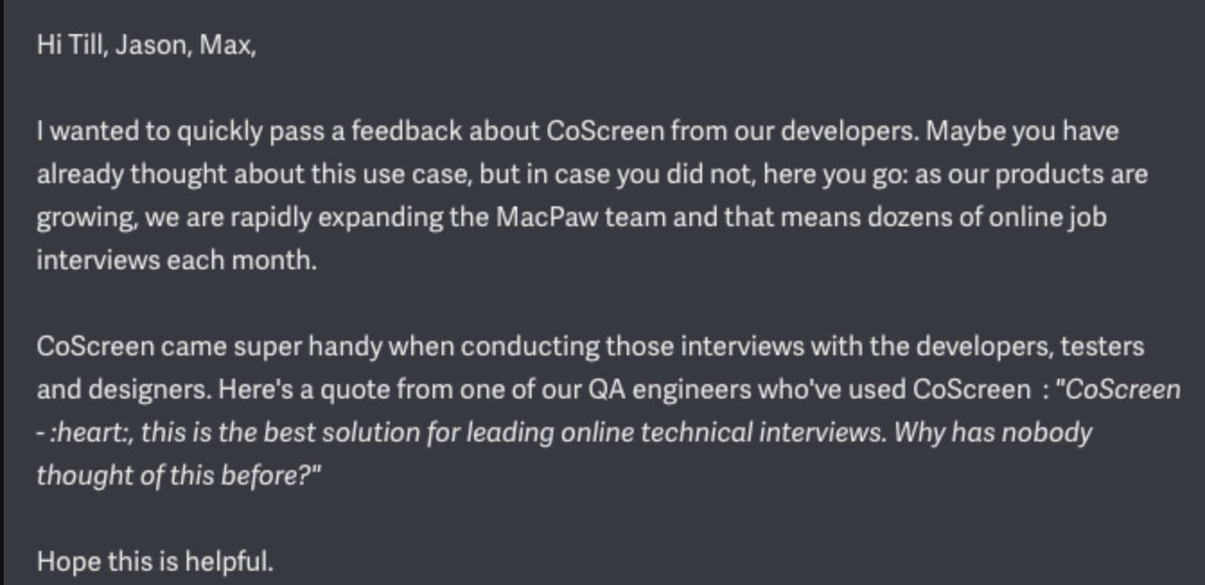 SepApp technical interviewing with CoScreen